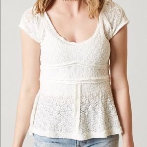 Free People Ivory Besties Lace Top